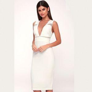 Lara White Sleeveless Cutout Midi Dress